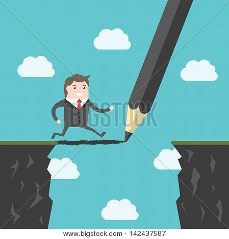 Pencil drawing a bridge above abyss between cliffs for running man. Conquering adversity business success bridging the gap and challenge concept. EPS 8 vector illustration no transparency
