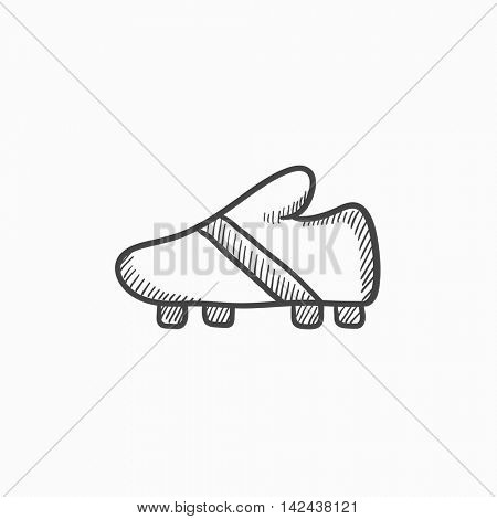 Football boot vector sketch icon isolated on background. Hand drawn Football boot icon. Football boot sketch icon for infographic, website or app.