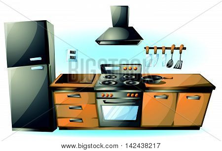 Cartoon Vector Illustration Cartoon Stove Kitchen Objects