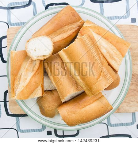 French Bread on plate / cooking sausage bread concept