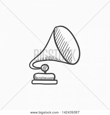 Gramophone vector sketch icon isolated on background. Hand drawn Gramophone icon. Gramophone sketch icon for infographic, website or app.
