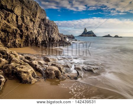 Church Rock, Broadhaven, Pembrokeshire, Wales. A beautiful beach with stunning coastal scenery.