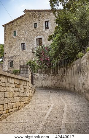 Old street to Saint Mary Cathedral in Girona Catalonia Spain