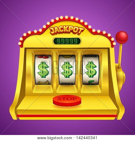 Slot machine illustration on violet background. Vector illustration.