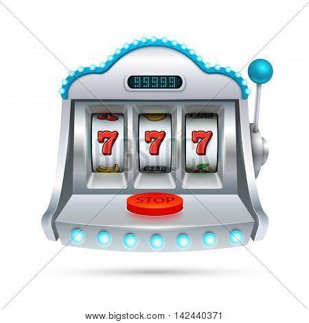 Slot machine illustration isolated on white background.