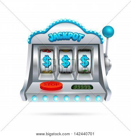 Futuristic slot machine illustration isolated on white background.