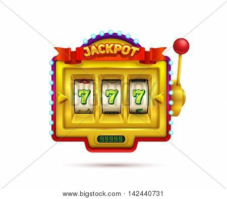 Slot machine illustration isolated on white background.