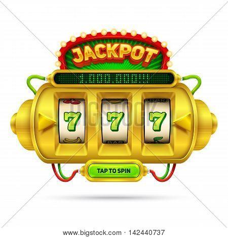Gold slot machine illustration, isolated on white background.