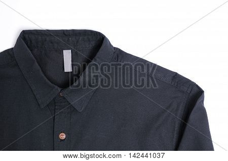 Black plain cotton male shirt White background.