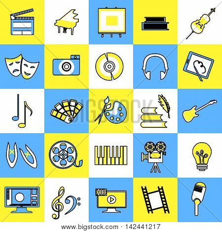 set of icons dedicated to the different arts.