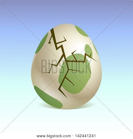 Birth of a dinosaur. Broken egg. Vector graphics.