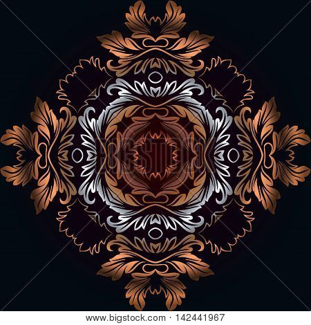 Vector vintage border frame engraving with retro ornament pattern in antique rococo style decorative design on black