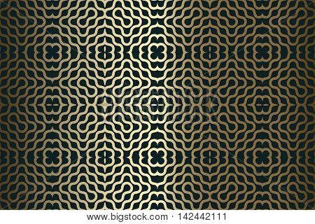 abstract gold decorative pattern texture of elements of wavy lines on a dark green background
