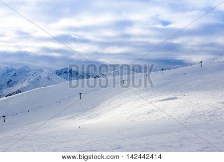 Beautiful winter landscape of Italian Alps, Livigno, Dolomytes