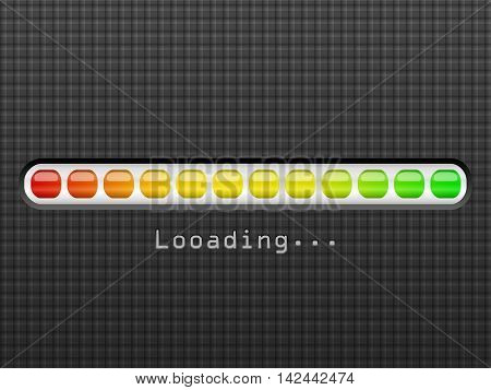 Loading bar on a black background. Vector illustration.