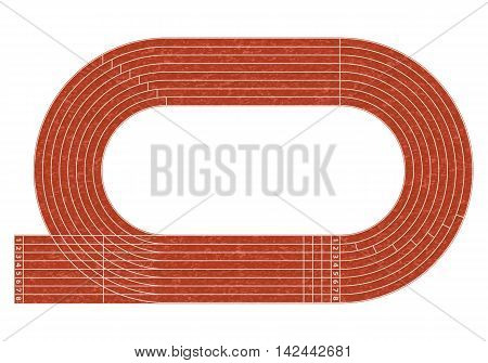 Running track on stadium with lane and numbers.