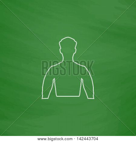 Unknown male Outline vector icon. Imitation draw with white chalk on green chalkboard. Flat Pictogram and School board background. Illustration symbol