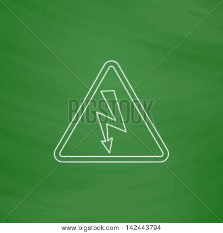 High voltage Outline vector icon. Imitation draw with white chalk on green chalkboard. Flat Pictogram and School board background. Illustration symbol