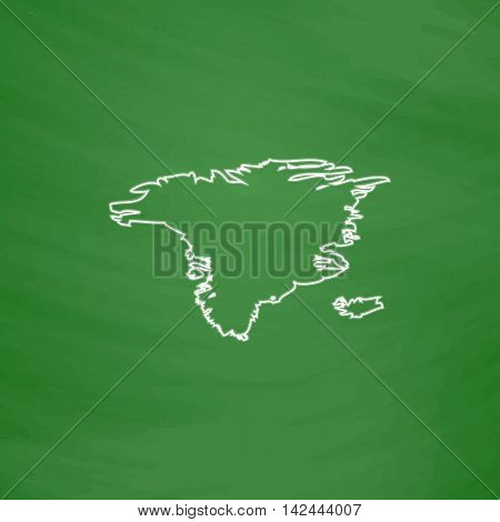 Alaska Outline vector icon. Imitation draw with white chalk on green chalkboard. Flat Pictogram and School board background. Illustration symbol