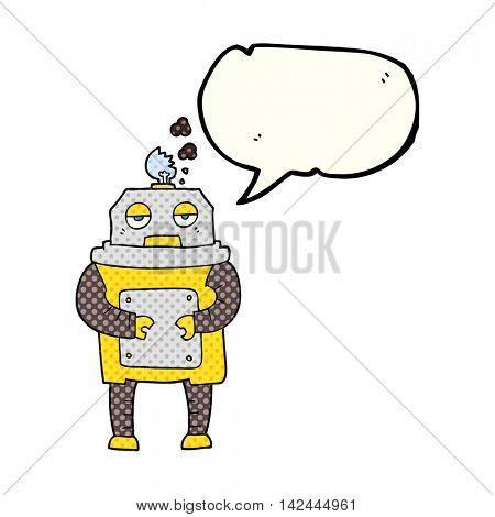 freehand drawn comic book speech bubble cartoon broken robot