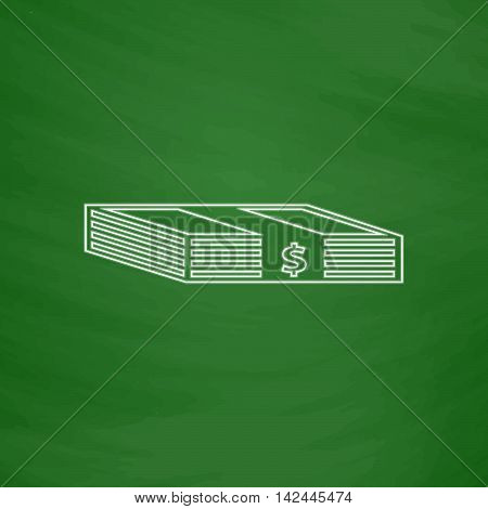Bundle of Dollars Outline vector icon. Imitation draw with white chalk on green chalkboard. Flat Pictogram and School board background. Illustration symbol