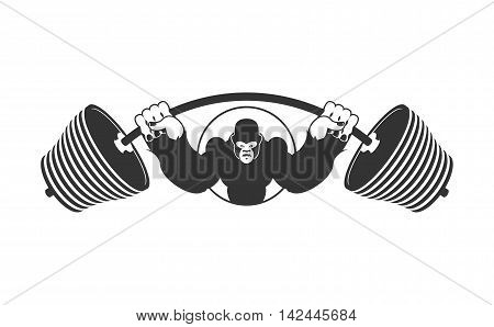 Angry Strong Gorilla And  Barbell. Athlete Aggressive Big Monkey. Evil Wild Animal Bodybuilder. Logo