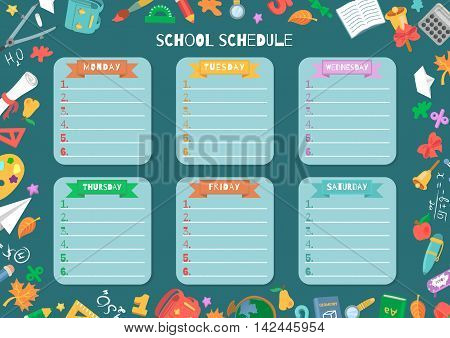School shedule for a week. Vector illustration with school supplies.