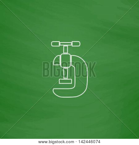 clamping Outline vector icon. Imitation draw with white chalk on green chalkboard. Flat Pictogram and School board background. Illustration symbol