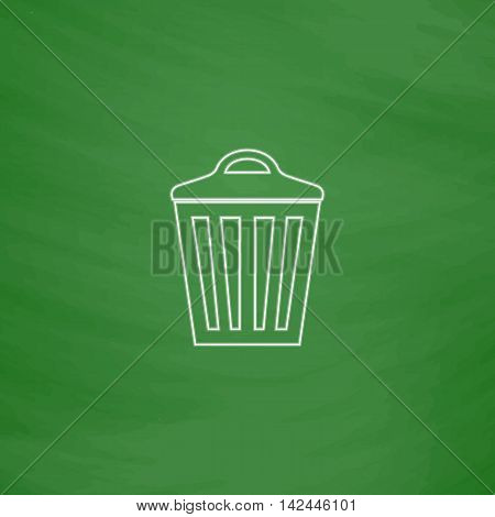 Trash can Outline vector icon. Imitation draw with white chalk on green chalkboard. Flat Pictogram and School board background. Illustration symbol