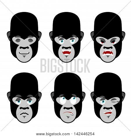 Gorilla Emotions. Set Expressions Avatar Monkey. Good And Evil Beast. Discouraged And Cheerful. Sad