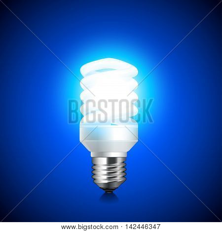Energy saving light bulb glowing on dark background realistic vector