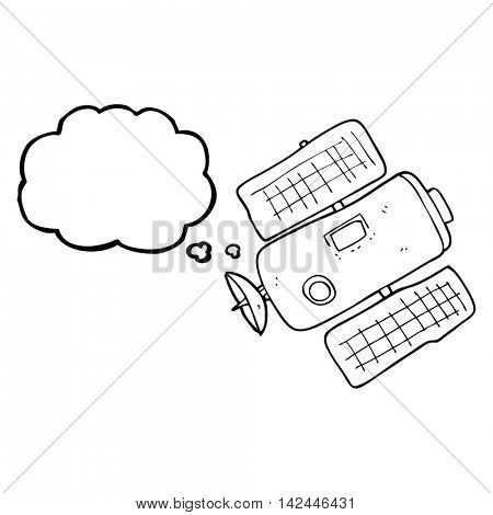 freehand drawn thought bubble cartoon space station
