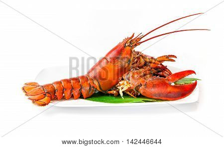 Lobster chinese luxury seafood on dish with banana leaf isolated on white background