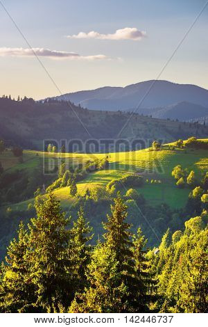 Valley in Carpathian mountains with form of layin woman silhouette