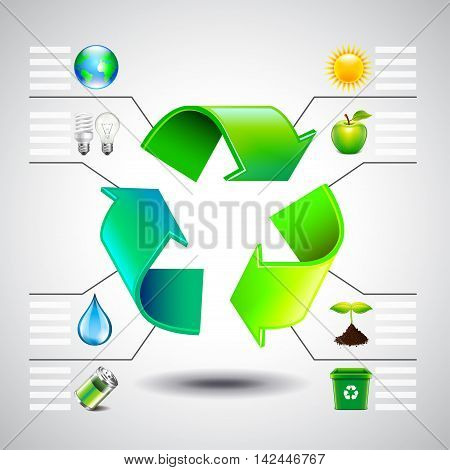 Environment inforgaphics. Green recycle symbol and ecology icons vector template