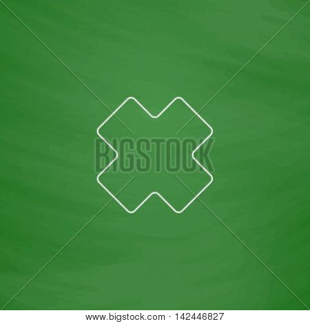 rejected Outline vector icon. Imitation draw with white chalk on green chalkboard. Flat Pictogram and School board background. Illustration symbol