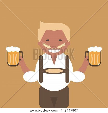 A man with a mug of beer in his hand. Oktoberfest poster. Vector illustration flat design