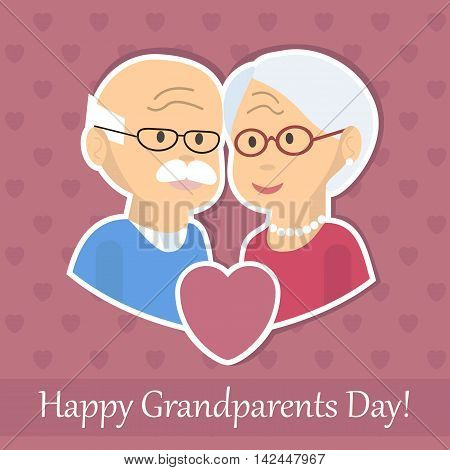 Senior couple in love. Old man and woman hugging. Celebration of elderly people. Grandparents day card or poster. Vector illustration flat design
