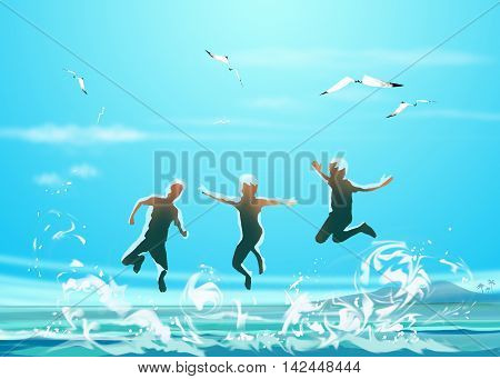Happy boys jumping on the sea beach. Kids Holiday. Blue sea waves and gull flying in the sky. Sunny day sea landscape. Digital illustration, Hand Drawn. Painting