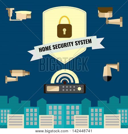 Home security cctv cam system flat design set of new camera technology for panoramic view.