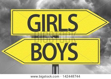 Girls x Boys yellow sign