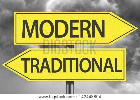 Modern x Traditional yellow sign