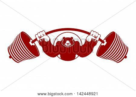 Strong Bear And Barbell. Aggressive Grizzly Great Athlete. Angry Wild Animal Bodybuilder. Logo For S