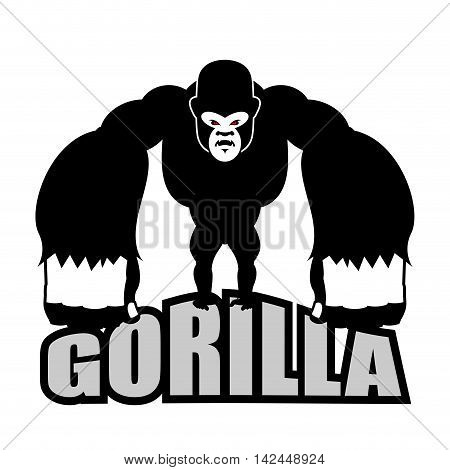 Angry Gorilla. Aggressive Big Monkey. Irritated Wild Animal. Logo For Sports Team
