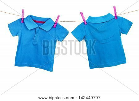 Blue t-shirt hanging on the clothesline on white background. Rear and front view
