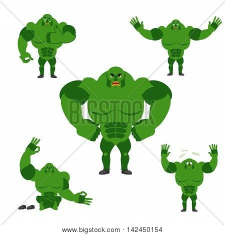 Ogre Set Poses. Expression Of Emotions Green Monster. Evil And Good Goblin. Sad And Happy Troll. Big