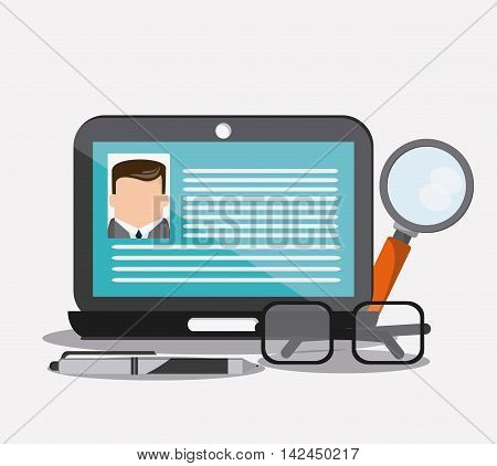 businessman laptop lupe glasses pen cv document icon. Company rosource design. colorful and flat illustration