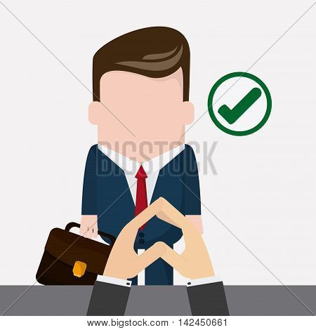businessman necktie cartoon suitcase check mark icon. Company rosource design. colorful and flat illustration
