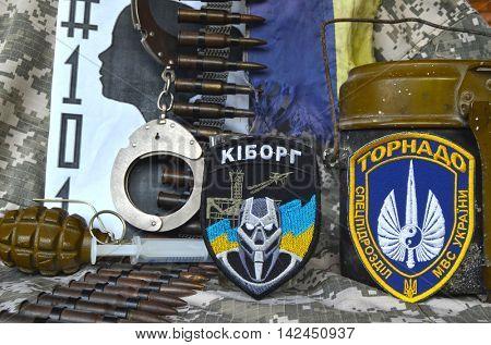 ILLUSTRATIVE EDITORIAL.Chevron of Ukrainian SPECIAL chastener battalion Tornado in Police.The battalion disbanded for pederastic rapes kids.Ukraine kill 101 kids of Donbass.August 0,2016,Kiev, Ukraine