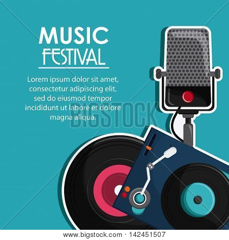 microphone vinyl music sound media festival icon. Flat and colorful illustration
